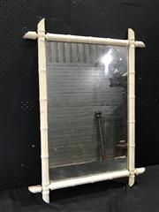Sale 9039 - Lot 1008 - Timber Framed Vintage Mirror in Bamboo Form (H: 88 x W: 53cm)
