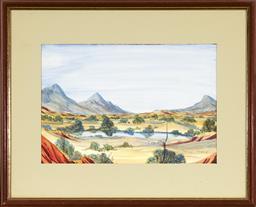 Sale 9091 - Lot 2006 - Thomas Stevens Yamanaka Central Australian Landscape watercolour, frame: 44 x 54cm, signed -