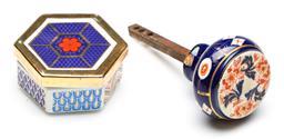 Sale 9246 - Lot 30 - An imari ceramic hexagonal lidded box (W:7.5cm) together with an imari door knob - some wear