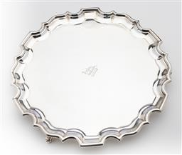 Sale 9245R - Lot 66 - Excellent quality silverplate Chippendale pattern tray, C&K, Calcutta C: 1920s, raised on 3 knurled feet, D: 26cm