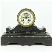 Sale 8342 - Lot 45 - French Black Slate Mantle Clock