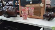 Sale 8390 - Lot 1566 - Pair of Timber Hippos & Crackle Glaze Vase (3)