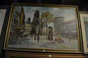 Sale 8441T - Lot 2051 - Large Framed Oil Painting, Parisian Scene