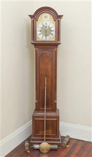 Sale 8470H - Lot 36 - An early C20th English mahogany long case clock, marked to back possibly JJB, the broken arch, gilt face with silvered chapter, havi...