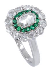Sale 8937 - Lot 361 - A VICTORIAN STYLE DIAMOND AND EMERALD CLUSTER RING; centring an approx. 0.35ct oval full rose cut diamond encircled by 14 round cut...