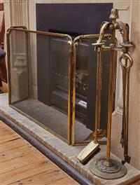Sale 9080H - Lot 55 - A set of fire tools together with a firescreen, Measurements of screen  Height 60cm x Width x 79cm Depth 23cm