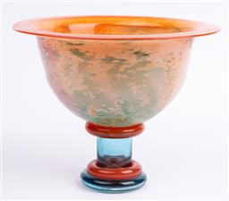Sale 9130S - Lot 52 - A large Kosta Boda raised can can bowl, signed Kjell Engman, Height 25cm x Diameter 32cm    (large chip to base)