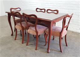 Sale 9146 - Lot 1046 - Timber 7 piece dining suite (h78 x w153 x d92cm)