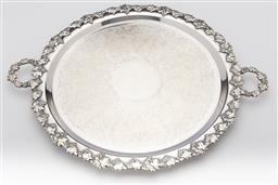 Sale 9245R - Lot 67 - A quality silverplate double handled tray by Kenson, mid 1900s, the elaborately scrolled centre framed by a rim and handles of frui...