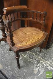 Sale 8317 - Lot 1077 - French Louis XVI Style Oak Tub Chair, with turned gallery back & caned seat, on turned reeded legs (one leg restored)