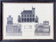 Sale 8341A - Lot 15 - An antique style French architectural print, Parc des Buttes Chaumont, 56 x 76cm including frame