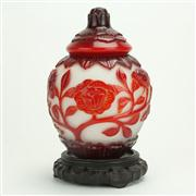 Sale 8393B - Lot 38 - Peking Glass Red Overlay Ginger Jar on a Carved Timber Stand