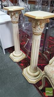 Sale 8404 - Lot 1075 - Pair of White Gilded Plinths