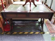 Sale 8447 - Lot 1096 - Leather Top Drop Side Table (H 58cm x L 94 & 130cm x W 50cm)