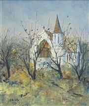 Sale 8492 - Lot 576 - Doreen Gadsby (1926 - ) - Country Church, Tasmania 60 x 50cm
