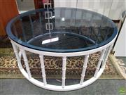 Sale 8589 - Lot 1024 - Round Glass Top Coffee Table on White Timber Base (40 x 100cm)