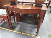 Sale 8601 - Lot 1040 - Cedar Serpentine Front Hall Table with Single Drawer on Turned Legs
