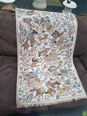 Sale 8601 - Lot 1463 - Hand Knotted Tapestry Depicting Horses and Lions
