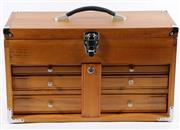 Sale 9060 - Lot 19 - A Timber Lockable Jewellery Box (50cm x 30cm 22cm)