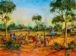 Sale 9093A - Lot 5009 - John Cobby (1957 - ) - Sunday Barbeque 45 x 60 cm (frame: 73 x 88 x 4 cm)