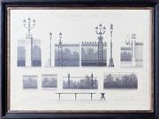 Sale 8341A - Lot 16 - An antique style French architectural print, Bois de Bolougne Ports, Grilles, Bancs, 56 x 76cm including frame