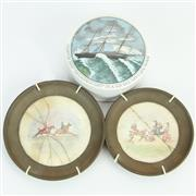 Sale 8390A - Lot 29 - Handpainted Miniatures of British Noble Scenes with a Ceramic Lidded Container