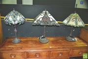 Sale 8371 - Lot 1005 - Collection of 3 Leadlight Lamps