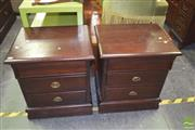Sale 8390 - Lot 1191 - Pair of 3-Drawer Bedside Cabinets