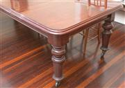 Sale 8470H - Lot 37 - A Victorian mahogany extension dining table with two leaves, on tuned fluted legs, H 76 x unextended L 148 x W 113cm (each leaf 59cm...