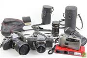 Sale 8490 - Lot 40 - Canon EX Auto; Olympus OM10 & Hanimex Cameras Lenses etc