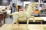 Sale 8591 - Lot 10 - Bone Figural Horse Sculpture, (Missing Ear, H 80cm x L 90cm)