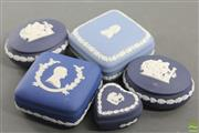 Sale 8604W - Lot 16 - Jasperware Blue Trinket Boxes (5)
