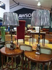 Sale 8657 - Lot 1045 - Pair of UK Made Gunmetal Finish on Aluminium Table Lamps