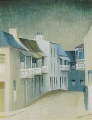 Sale 8722 - Lot 501 - Dorothy Atkins (1914 - 1997) - Blue Terrace Houses 22 x 17cm