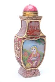 Sale 8719 - Lot 98 - Chinese Glass Snuff Bottle with Girl and Gilded Decorations