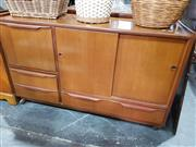 Sale 8769 - Lot 1100 - Retro Cabinet with Drop Front, Sliding Doors & Drawers on Castor