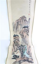 Sale 8860 - Lot 89 - A Chinese Ink Scroll Painting of Flowers and Birds (Image Length 33cm)