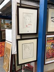 Sale 8865 - Lot 2093 - Gwyneth Tilley (2 works): Fleur; Decision, etchings, 51 x 42cm;55 x 45cm (frames), signed -