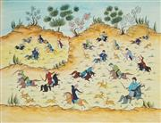 Sale 8938A - Lot 5078 - Persian School (Zolfaghari) - Polo Game & Hunting Scene 34 x 44 cm (frame: 61 x70 x 2 cm)