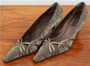 Sale 9066H - Lot 98 - A pair of Argenta pointed kitten heels in olive silk outers, never worn, size 39