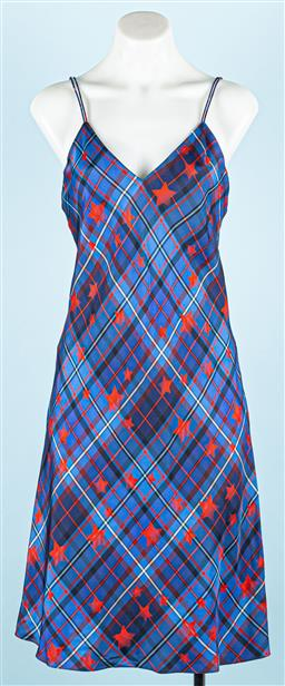 Sale 9091F - Lot 42 - A GIGI HADID BY TOMMY HILFIGER slip on dress in blue tartan with red stars, size 4
