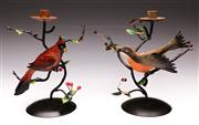 Sale 9078 - Lot 170 - A Pair of Early Cast Metal Northern Red Cardinal Candlesticks , H:26cm