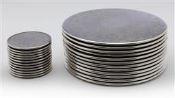 Sale 9245R - Lot 69 - A set of 12 Strachan silverplate place mats, D: 20cm, with 12 matching glass coasters, D: 8.5cm
