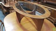 Sale 8383 - Lot 1028 - G-Plan Oval Atmos Coffee Table with Glass Top