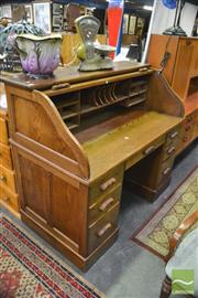 Sale 8398 - Lot 1023 - Fitted Roll Top Desk on Twin Pedestal Base
