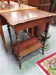 Sale 8416 - Lot 1034 - 19th Century French Walnut & Marquetry Work Table, with hinged chequered top enclosing a birdeye maple interior with mirror, on turn...
