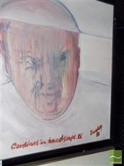 Sale 8461A - Lot 2048 - Richard Dunlop - Cardinal in Landscape IV 80, framed oil on canvas, signed lower right, 63 x 50cm