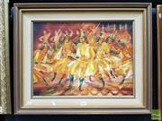 Sale 8478 - Lot 2013 - Carmen Blake (XX) Georgian Dancers: The Swordsman, oil on board, 37 x 50cm, inscribed verso