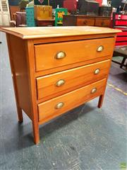 Sale 8648 - Lot 1075 - Raised Timber Chest of Three Drawers