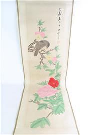 Sale 8869 - Lot 92 - A Chinese Ink Scroll Painting of Flowers and Birds (Image Length 33cm)